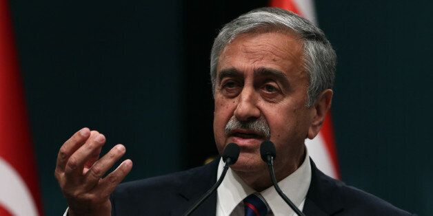 Newly elected Turkish Cypriot leader Mustafa Akinci speaks to the media after talks with Turkish President...