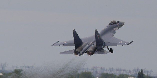 Russian air force Sukhoi su-139 fighters take off during a performance at the presentation Paris Air...