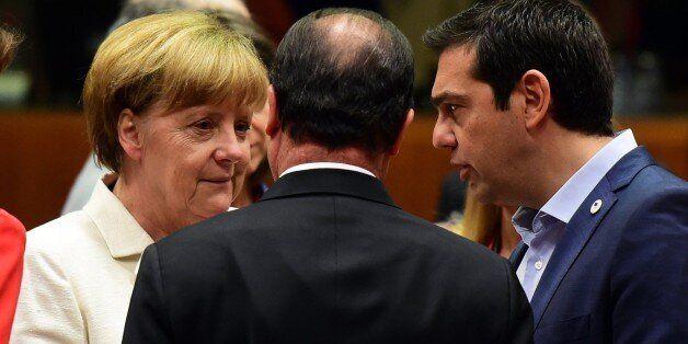 (From L) German Chancellor Angela Merkel, French President Francois Hollande, and Greek Prime Minister...