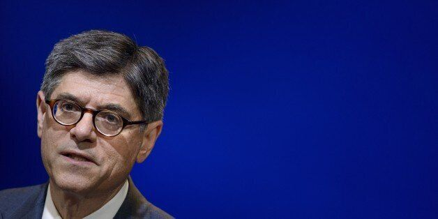 US Secretary of the Treasury Jacob Lew pauses while speaking at the Brookings Institution July 8, 2015...