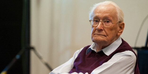 Former SS guard Oskar Groening waits for the start of the trial against him in Lueneburg, northern Germany,...