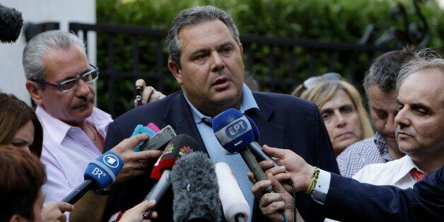 Greek Defense Minister Panos Kammenos, who heads the government's junior coalition member Independent...