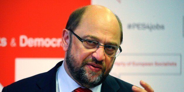 President of the European Parliament Martin Schulz attends a press conference in Budapest Congress Center...