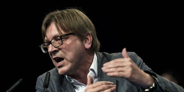Top candidate of Liberals (ALDE) Guy Verhofstadt delivers a speech on April 30, 2014 during an UDI /...
