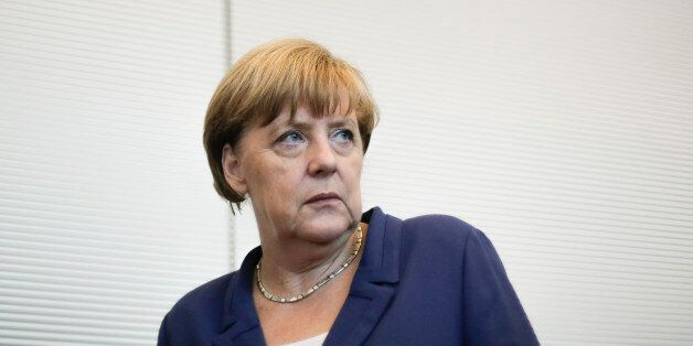 German Chancellor Angela Merkel arrives for a special meeting of the Christian Democratic Union (CDU)...