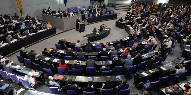 Lawmakers attend a debate on the Greek financial crisis, at the German parliament , the Bundestag , in...