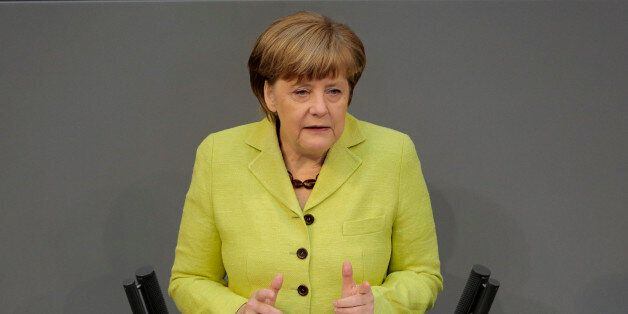 German Chancellor Angela Merkel delivers a declaration about the European Union and an Eastern Partnership...