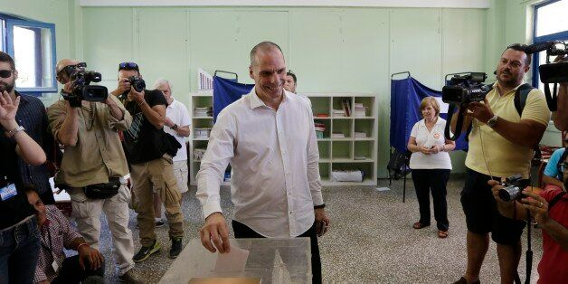Greece's Finance Minister Yanis Varoufakis cast his vote at a polling station in Athens, Sunday, July...