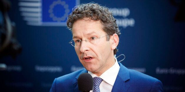 Dutch Finance Minister and chair of the eurogroup Jeroen Dijsselbloem speaks to reporters in the Dutch...