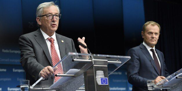 (From L) EU Commission President Jean Claude Juncker and EU Council President Donald Tusk give a press...