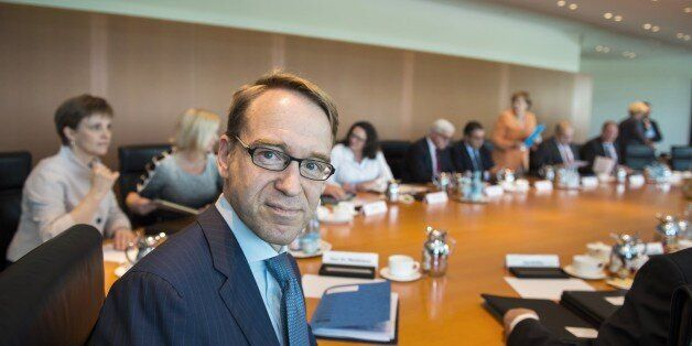 President of the German Central Bank (Bundesbank) Jens Weidmann poses for photographers ahead of the...