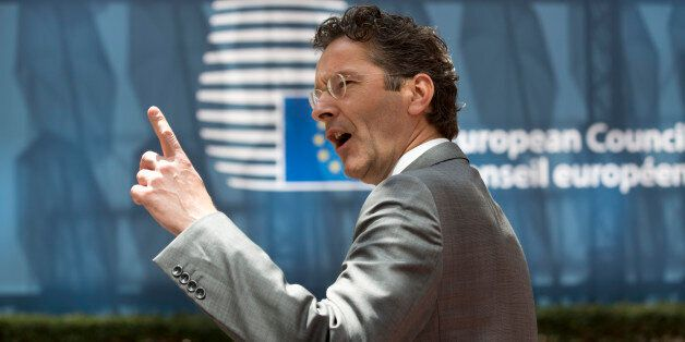 Dutch Finance Minister Jeroen Dijsselbloem gestures as he arrives for a meeting of eurogroup finance...