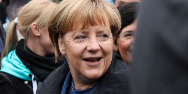 Angela Merkel beim Abschluss des Thüringer Landtagswahlkampfes am 13. September 2014 in