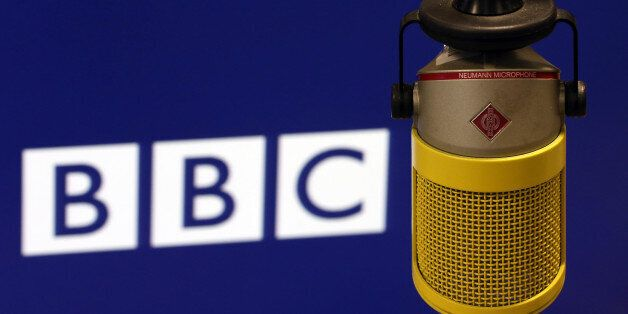 LONDON, ENGLAND - JULY 12: The microphone used to read the BBC World Service last ever bulletin from...