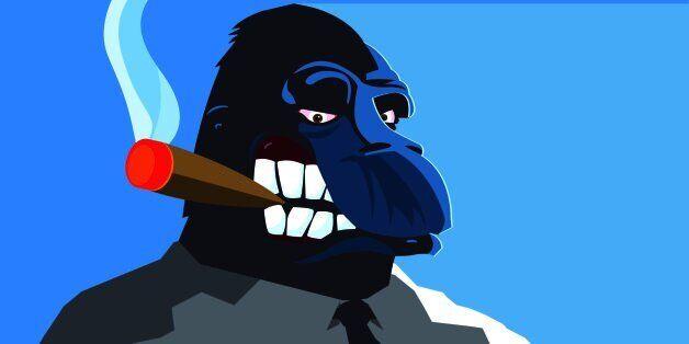A bossy gorilla smoking a big