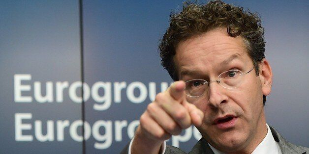 Dutch Finance Minister and president of Eurogroup Jeroen Dijsselbloem gives a press conference during...