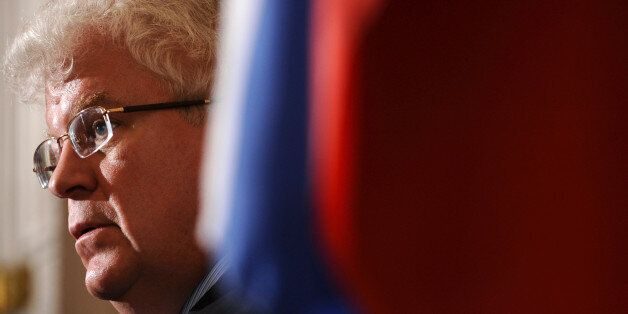 Russian Ambassador to the EU Vladimir Chizhov gives a press conference after the publication of the report...