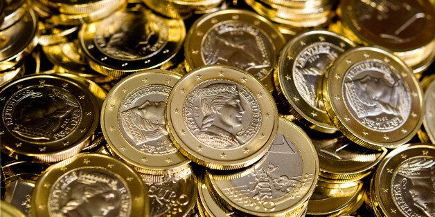 The first one euro coins for Latvia that were produced in Stuttgart, Germany, Wednesday, July 31, 2013,...