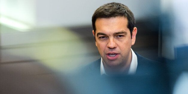 Greek Prime Minister Alexis Tsipras speaks during a media conference at an EU summit in Brussels on Monday,...