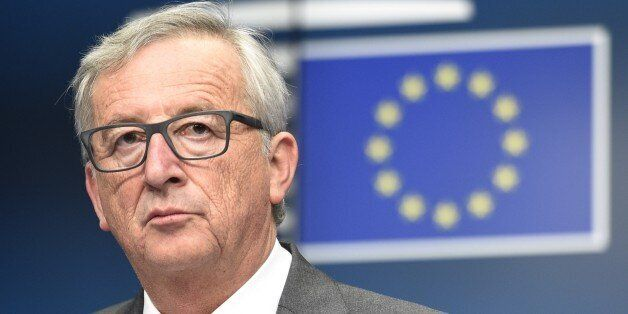 EU Commission President Jean Claude Juncker gives a press conference at the end of the first of the two...