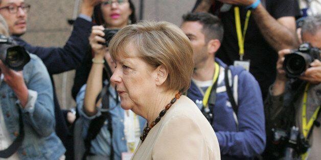 German Chancellor Angela Merkel arrives for the EU-CELAC summit in Brussels on Thursday, June 11, 2015....