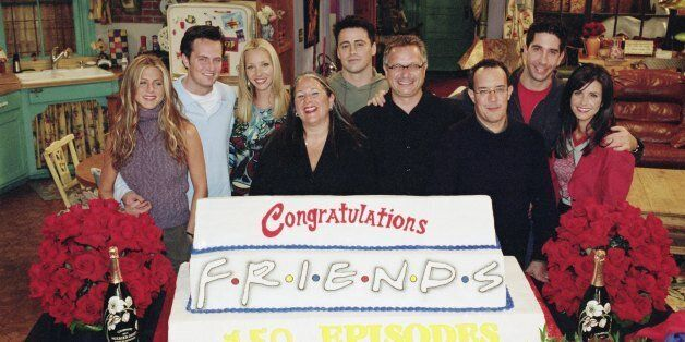 FRIENDS - 'The One With The Engagement Picture' -- Episode 5 -- Aired 11/2/2000 -- Pictured (l-r): Jennifer Aniston, Matthew Perry, Lisa Kudrow, executive producer Marta Kauffman, Matt LeBlanc, executive producer Kevin S. Bright, executive producer David Crane, David Schwimmer, Courteney Cox -- NBCU Photo Bank