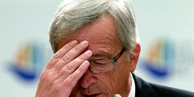 Eurogroup President Jean Claude Junker reacts during a press conference after an Informal European economic...