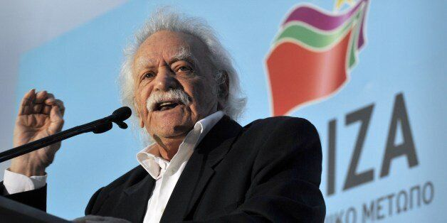 Greek resistance hero, politician and writer Manolis Glezos addresses party's supporters during a pre-election...