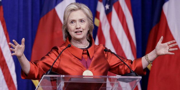 Democratic presidential candidate Hillary Rodham Clinton delivers a speech at Texas Southern University...