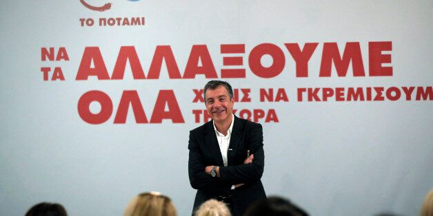 Stavros Theodorakis, leader of the political party To Potami (The River) talks during a news conference...