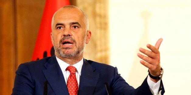 Albanian Prime Minister Edi Rama speaks at the news conference with visiting Serbian Prime Minister Aleksandar...