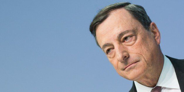 Mario Draghi, president of the European Central Bank (ECB), gives a press conference in Frankfurt am...