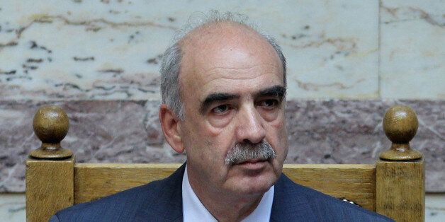 FILE - In this Friday, June 29, 2012, file photo Parliament speaker Evangelos Meimarakis attends a vote...