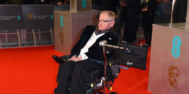 Stephen Hawking arrives for the British Academy Film and Television Awards 2015, The BAFTAs, at the Royal...