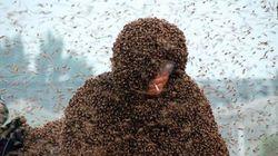 Ένα εκατομμύριο μέλισσες πάνω του και αυτός χαλαρός με το τσιγάρο στο