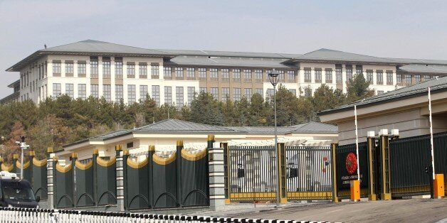 A picture shows the new Ak Saray presidential palace (White Palace) on the outskirts of Ankara on October...