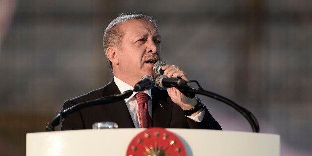 ISTANBUL, TURKEY - MAY 30: Turkey's President Tayyip Erdogan addresses his supporters during a ceremony...