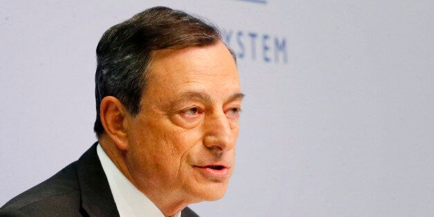 President of European Central Bank Mario Draghi speaks during a news conference in Frankfurt, Germany,...