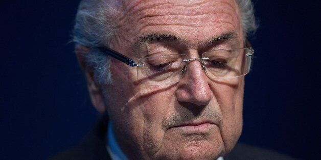 FIFA President Sepp Blatter looks down during a press conference at the headquarters of the world's football...