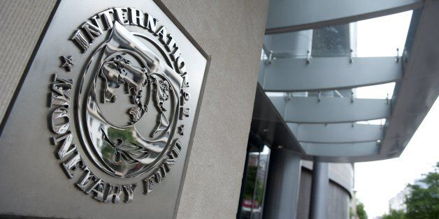 The logo of the International Monetary Fund (IMF) at the organization's headquarters in Washington, DC,...