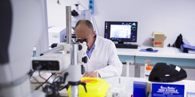 A forensic scientist of the Criminal Research Institute of the National Gendarmerie (IRCGN), looks through...