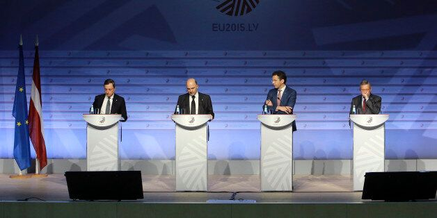 From left: President of the ECB, Mario Draghi, Commissioner for Economic and Financial Affairs, Taxation...