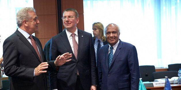 Mr Dimitrios AVRAMOPOULOS, Member of the European Commission; Mr Edgars RINKEVICS, Latvian Minister for...