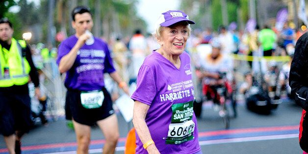 SAN DIEGO, CA - JUNE 01: 91 year old Marathon Participant Harriette Thompson participates in the Suja...