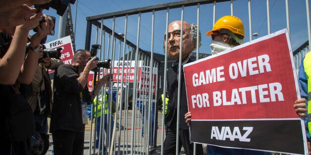 IMAGE DISTRIBUTED FOR AVAAZ - An Avaaz Stunt in front of the Fifa General Meeting at the Hallenstadion...