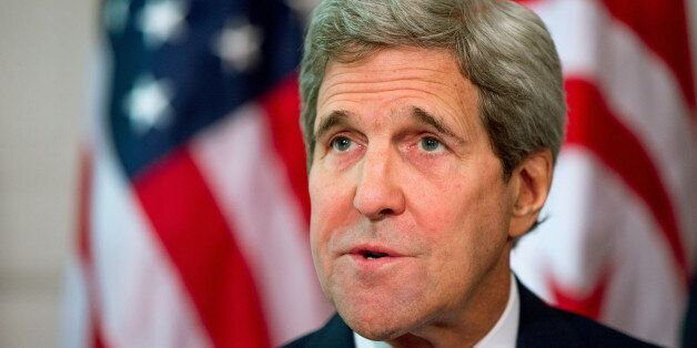 FILE - In this May 20, 2015 file photo, Secretary of State John Kerry speaks at the Blair House in Washington....