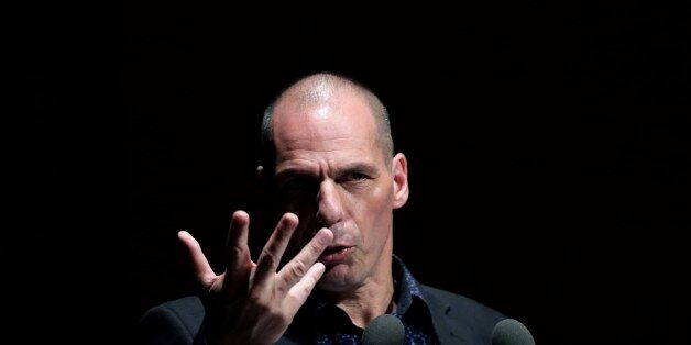 Greek Finance Minister Yanis Varoufakis gives a speech during a financial conference in Athens, on Tuesday,...