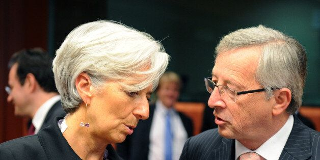French Finance Minister Christine Lagarde (L) and Luxembourg Prime Minister and Eurogroup head Jean-Claude...