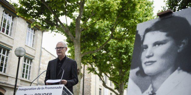 French literature nobel prize writer Patrick Modiano delivers a speech during the inauguration of the...