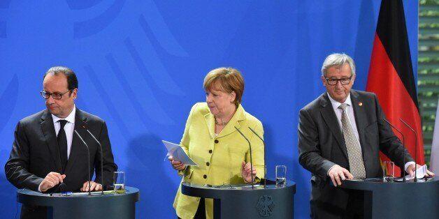 (L-R) French President Francois Hollande, German Chancellor Angela Merkel and European Commission President...